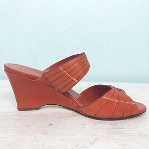 new COLE HAAN burnt orange wedge heels size 10